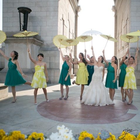 SAS Weddings Green and Yellow Bridesmaid Dresses