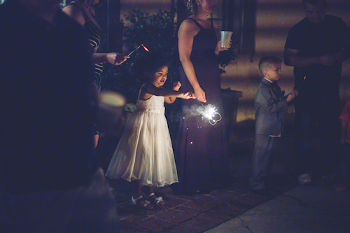 flowergirl with wedding sparklers