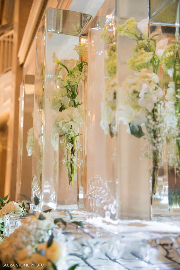 Ice Sculpture with Frozen Greenery